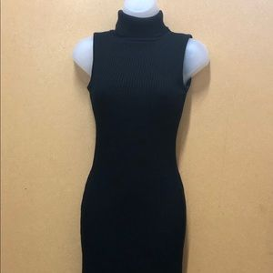 Black Sleeveless Sweater Dress Turtleneck